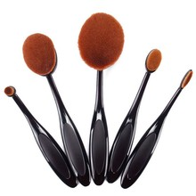 5pcs/set Makeup Brushes Toothbrush Oval Brush Portable Professional Foundation Powder Kit Oval Makeup Brush Set