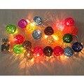 20 unids dia.5cm multicolor rattan bolas cadena linterna con luz LED blanco cálido
