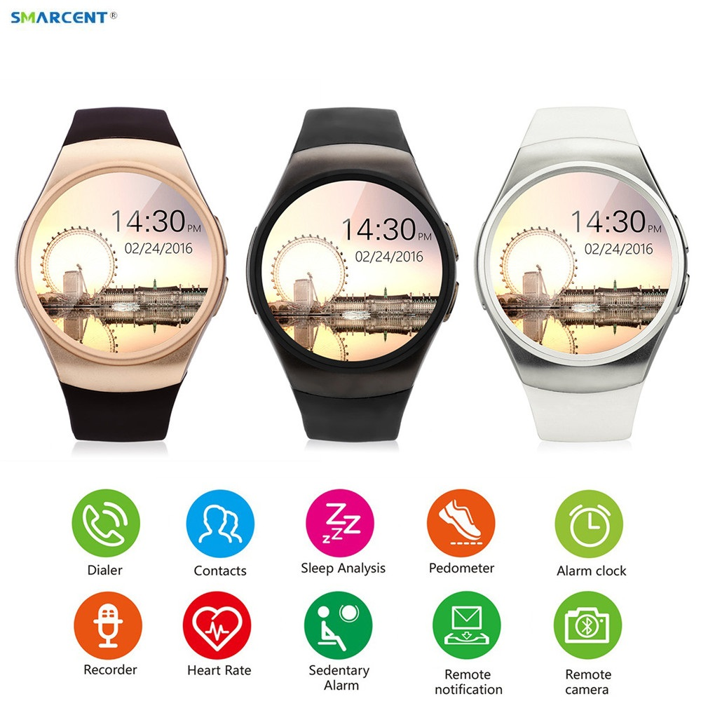 SMARCENT KW18 Smart Watch Connected Wristwatch For Samsung Huawei Xiaomi Android Smartphone Support Sync Call Messager Smartwach wireless service call bell system popular in restaurant ce passed 433 92mhz full equipment watch pager 1 watch 7 call button
