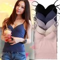 New Built in Bra Tops 6 colors Padded Cozy Adjustable Strap Base Camisole Deep V-Neck Wire Bra Tank Tops SIZE M/L drop shipping