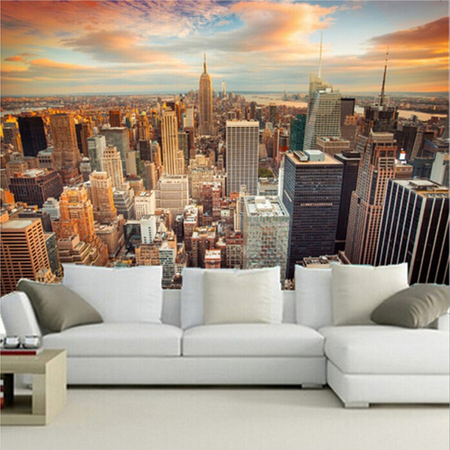 Custom size 3d mural wallpapers backdrop modern city new york custom size 3d mural wallpapers backdrop modern city new york landscape living room sofa background home voltagebd Gallery