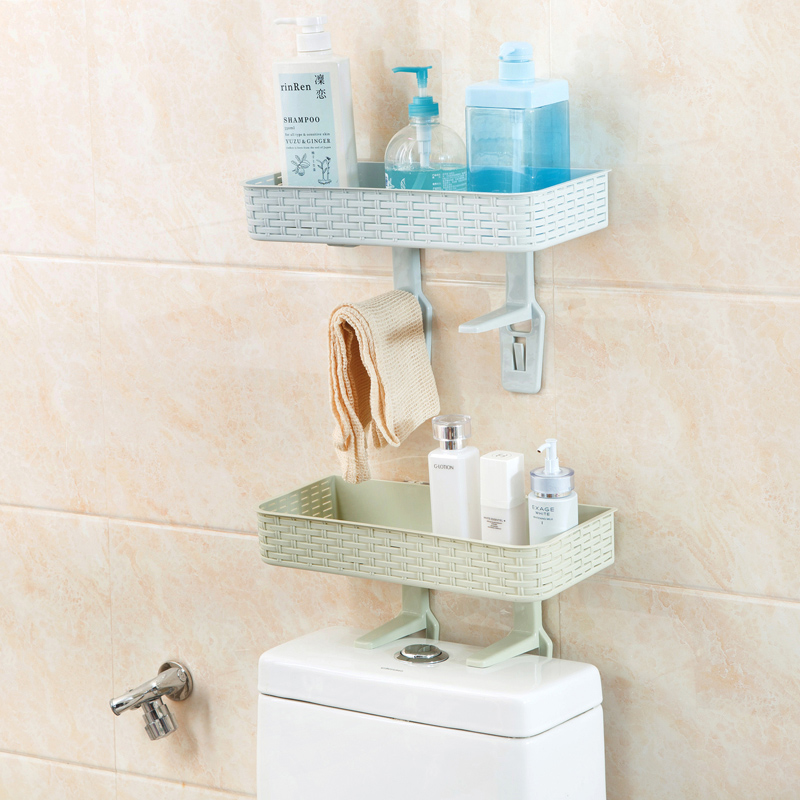 Bathroom Shelf Wall Rack With 2 Suckers Plastic Shower Caddy ...