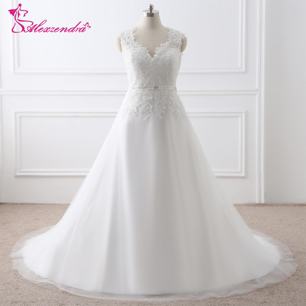 Wedding Gowns With Cap Sleeves: Alexzendra Stock Dresses V Neck Plus Size A Line Wedding