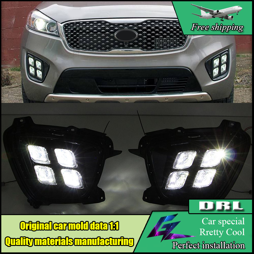 Car Styling LED DRL Kit For Kia Sorento L 2015 2016 High brightness 4 Eyes led fog lamps DRL Daytime running light Day light jgrt car styling for toyota hilux led drl for toyota hilux led fog lamps daytime running light high brightness guide led drl