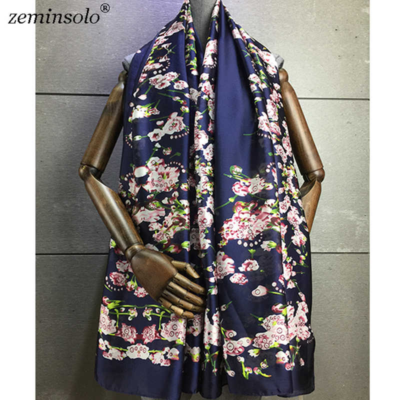 Bufandas de marca de lujo de verano para mujer, bufandas de seda con estampado Floral y suaves, chales para mujer