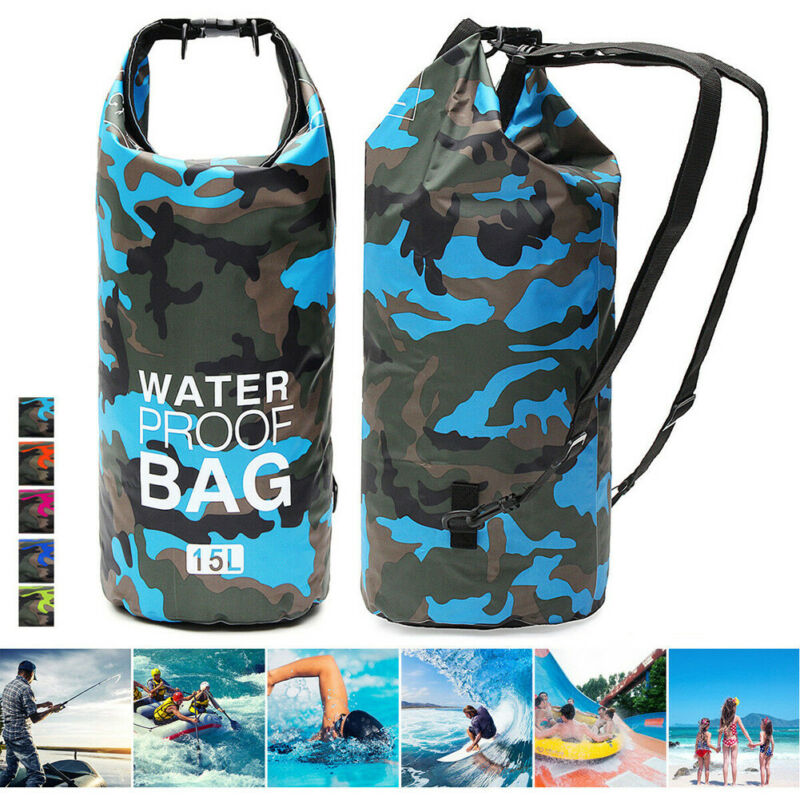Unisex Outdoor Sports Foldable Portable Camouflage Backpack Rafting Swimming Camping Waterproof Quick  Dry Storage Bag
