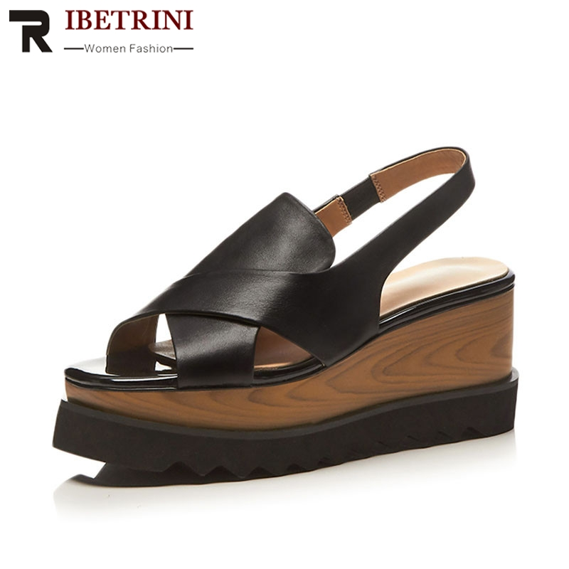 RIBETRINI Brand New women's Genuine Leather Ladies Wedges High Heels Platform Shoes Woman Casual Party Office Summer Sandals