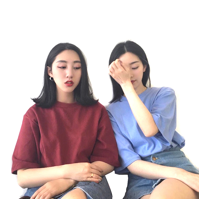 Panpia Tee Shirt Solid Color Basic T-shirt Women Casual O-neck Harajuku Summer Top Korean Hipster White T Shirt Dropship