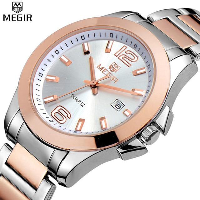 008ba5628b5 MEGIR Mulheres Quartz Relógios Rosa de Ouro Pulseira Relógio Banda de Aço À  Prova D
