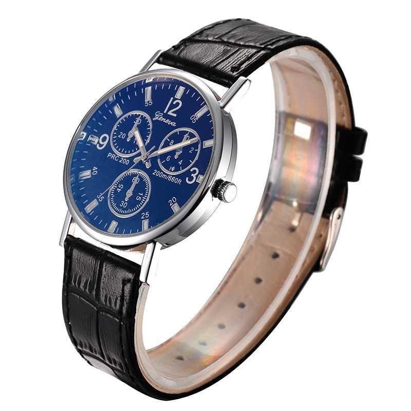 Genève Blu-ray lunettes mode affaires hommes montres en cuir ceinture Quartz montres hommes horloge Reloj Hombre livraison directe