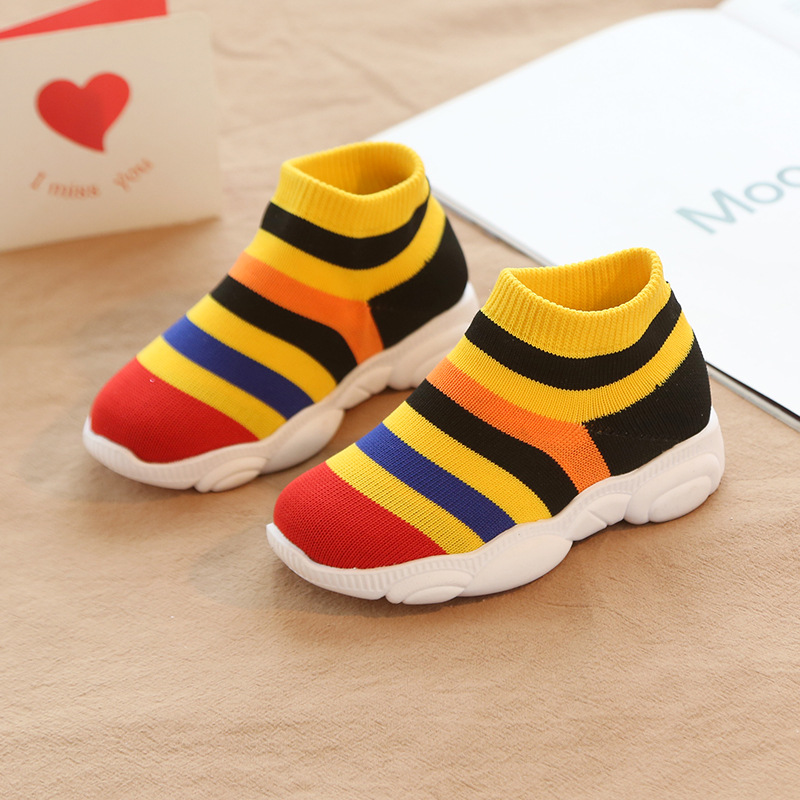 New Girls Shoes Boys Toddler Shoes Knit Non Slip Black Red Sneakers Kid Sport Shoe Sneakers Breathable Children's Running Shoes
