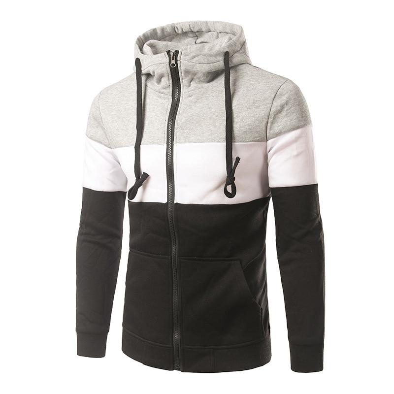 2016 New Autumn Fashion Turtleneck Leather Patchwork Zipper Hoodies Men's Long Sleeve Sweatshirt Men Coat Black Dark Gray