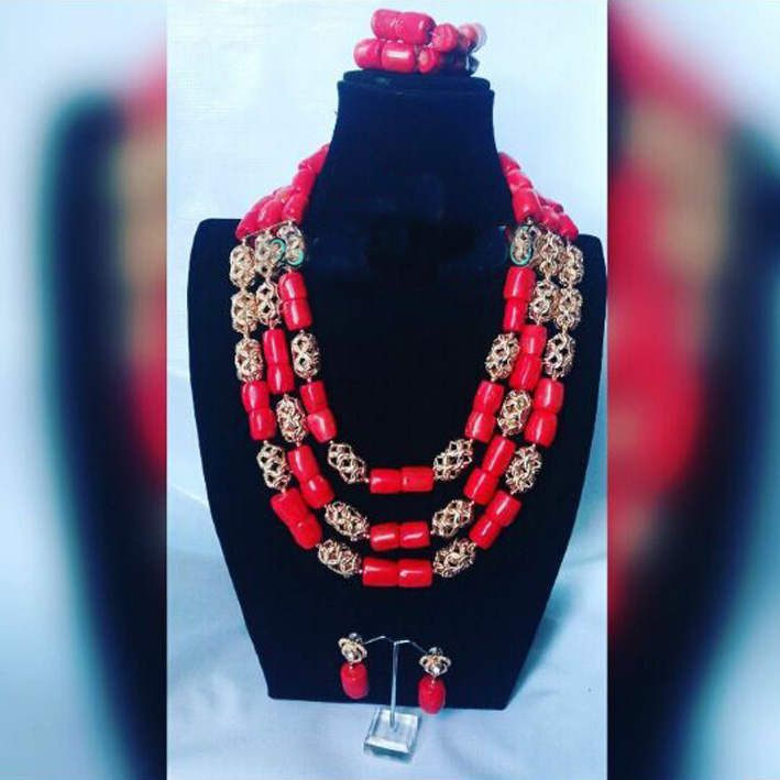 Fashion Nigerian Coral Beads Necklace Earrings Set for Bride New African Wedding Jewelry Set Free Shipping Fashion Nigerian Coral Beads Necklace Earrings Set for Bride New African Wedding Jewelry Set Free Shipping CNR665