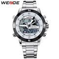 WEIDE Brand Fashion Luxury Silver Stainless Steel Watch Men Dual Time Display Analog Quartz 3ATM Water Resistant Wrist Watch
