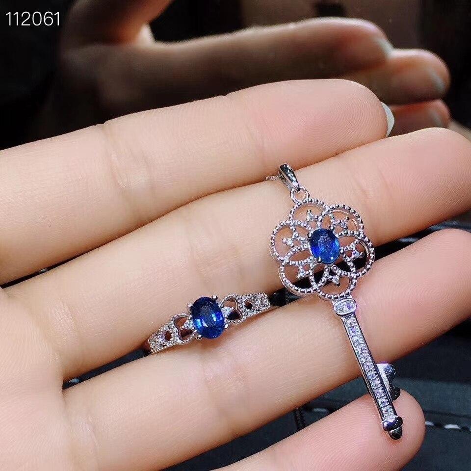 Alte Schöne Aushöhlung Key S925 silber natürliche blaue saphir edelstein ring Anhänger natürliche edelstein schmuck set frau partei geschenk - 3
