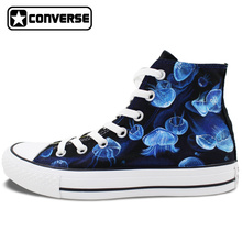 2016 New Hand Painted Shoes Jellyfish High Top Converse All Star Black Canvas Sneakers Christmas Gifts for Men Women
