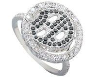 Face Micro Inlays Black Tourmaline Diamond Stone Silver Cool For Women Ring Q1940