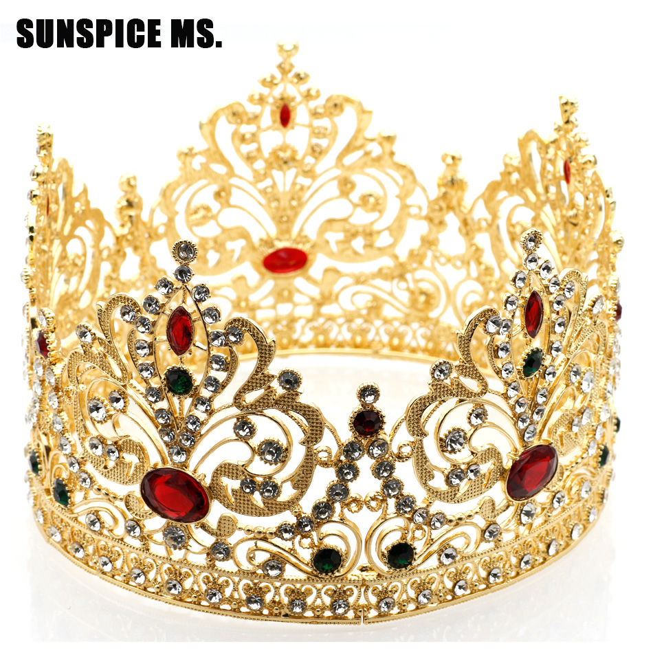 Hot Full Circle Tiaras Crowns For Women Wedding Hair Jewelry Princess Beauty Queen King Crown Flower Resin Vintage Crown Gift