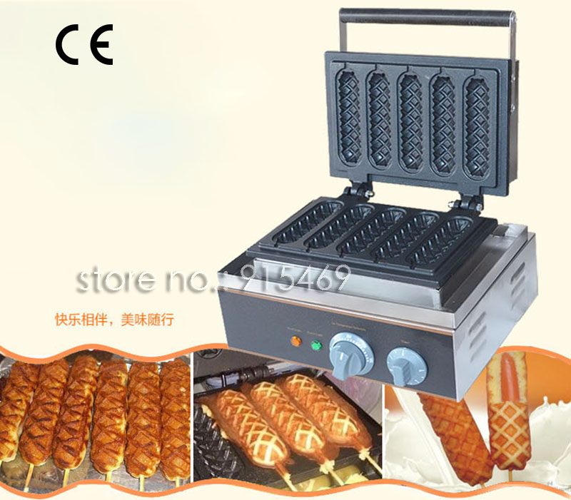 Free Shipping Commercial Use Non-stick 5pcs 110v 220v Electric French Hot Dog Waffle Stick Iron Maker Baker Machine