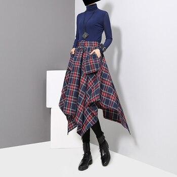 New 2019 Korean Style Women Winter Red Blue Plaid Skirt Split Checker Lady Irregular High Waist Casual Fashion Loose Skirt 3027 3