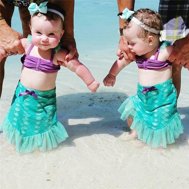 569e014b41a92 Two-piece Baby Girls Mermaid Swimsuit Little Girl Bikini Sets Swimwear  Swimming suit Bathing Suit Beachwear Costume