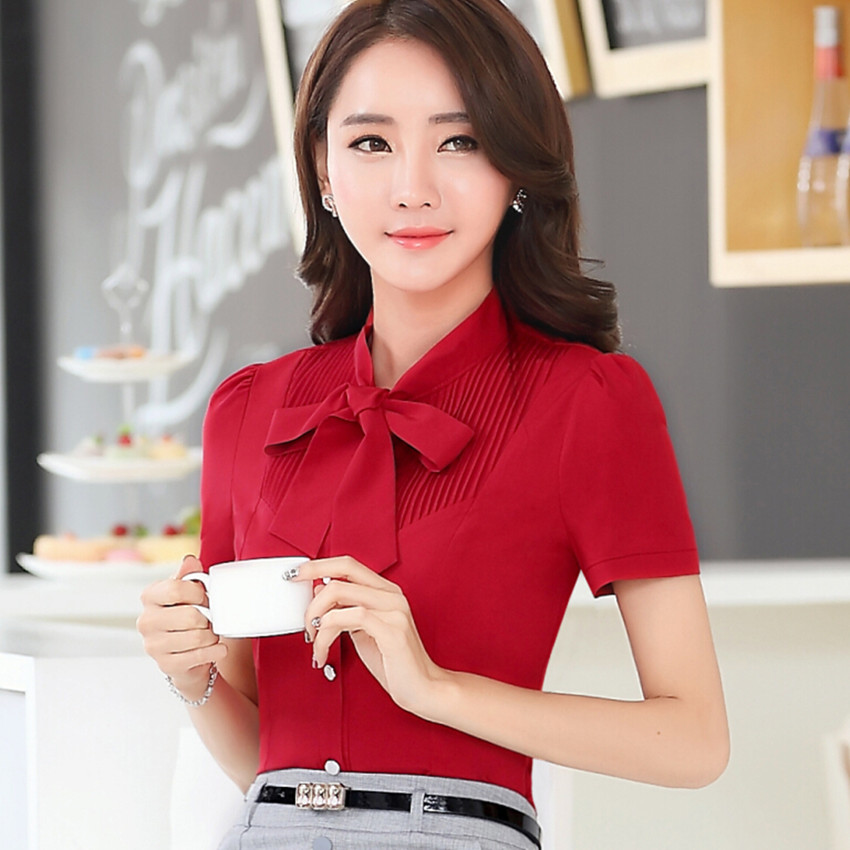 3776e59919 High quality new summer fashion women bow shirt OL elegant formal short  sleeve tops office ladies plus size chiffon blouse-in Blouses   Shirts from  Women s ...