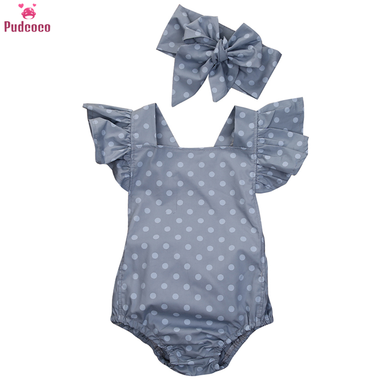 Summer Cute Newborn Clothes Baby Girl Rompers Ruffle Polka Dot Sleeveless One Piece Jumpsuit Headband Ropa