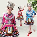 Frete Grátis New Hot Sale 2 pcs Antiga Tradicional Azul Vermelho Rosa Vermelha Chinesa Miao Roupas/Roupas Hmong