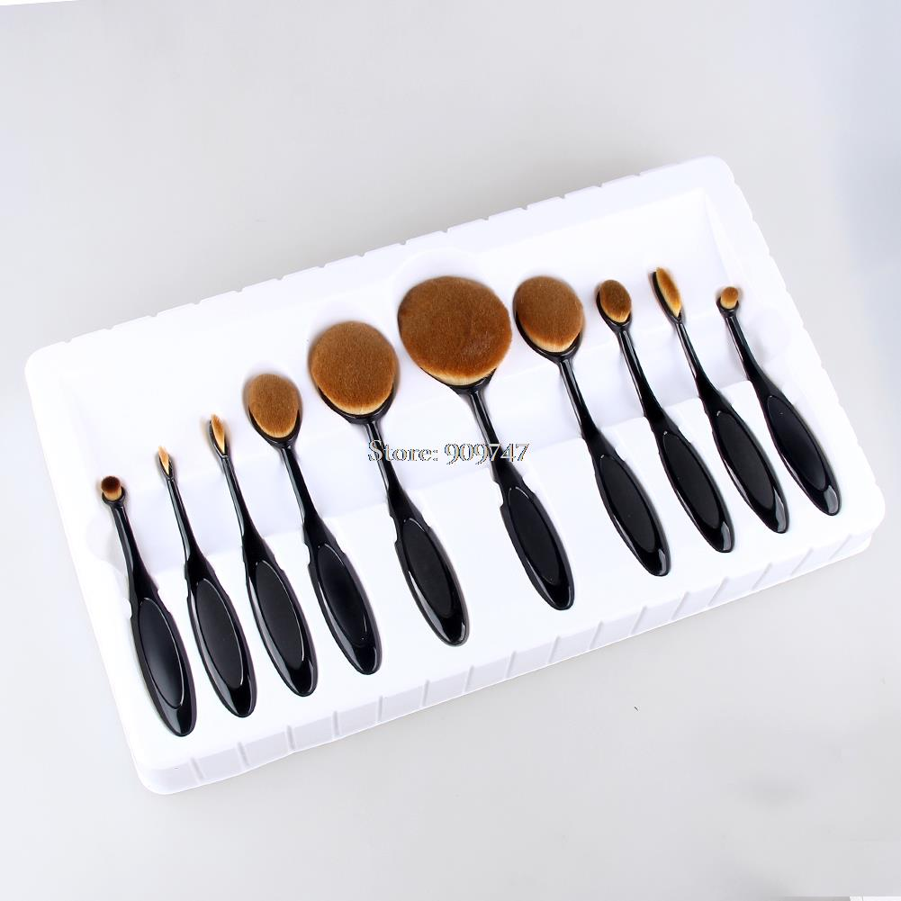 New Arrival 10pcs/lot Makeup Brush Oval Cream Puff Cosmetic Toothbrush-shaped Foundation Contour Blush Eyeshadow Brush with box candy color calabash shaped cosmetic makeup cotton pads sponge puff pink