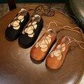Brand New Meninas Cross-Amarrado Sapatos de Couro Do Vintage Meninas do Ballet Sapatos de Dança para Crianças Sapatos Casuais Sapatos de Bebê de Couro Macio Sole Flats