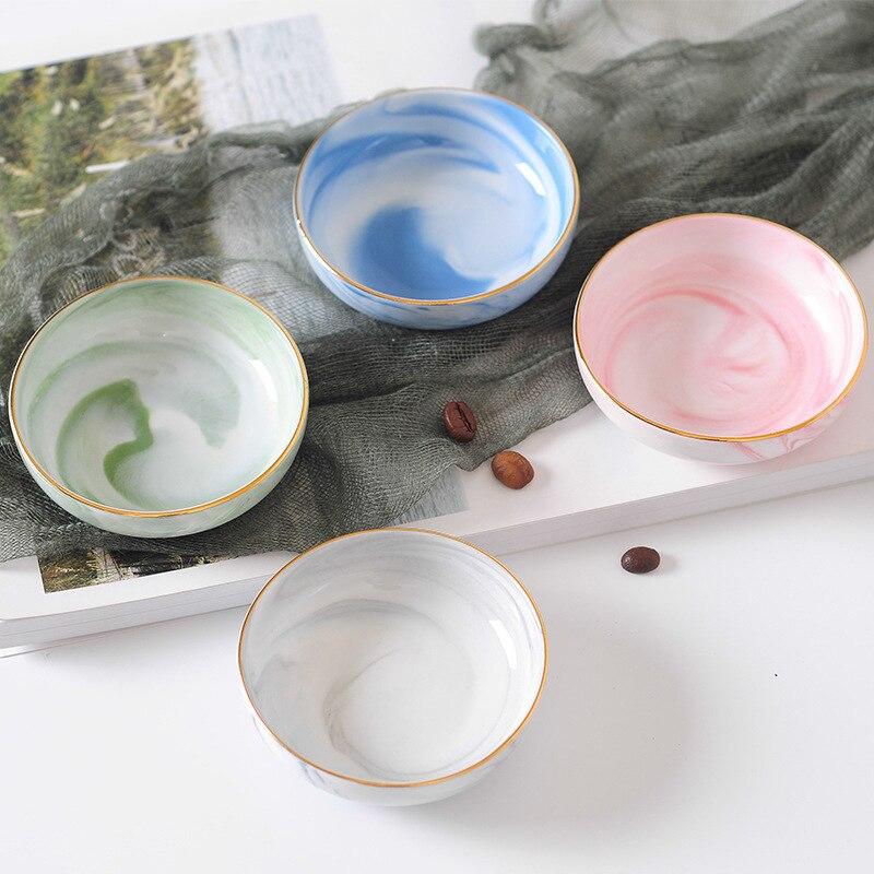 Chic Luxury Ceramic Bowl Gray Blue Pink Green Bowls Baby Adult Dish Soy Fruit Food Feeding Bowl Anniversary Gift Tableware 1PCS ceramic