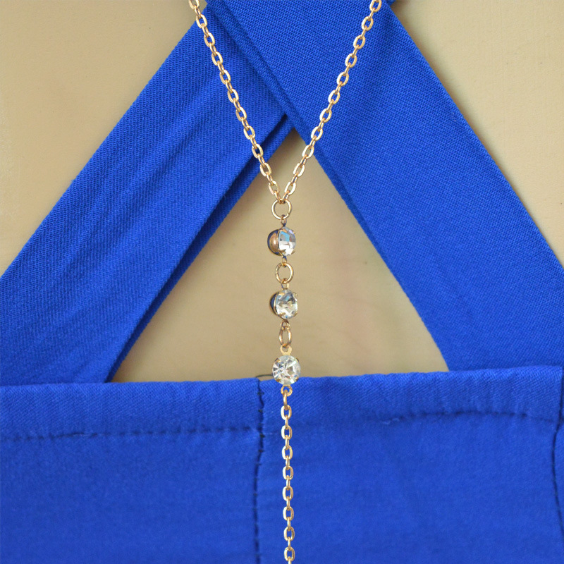 LUMPER Simple chain back pendant necklace jewelry charms crystal long necklace women collares necklaces pendants Bride's gift 07 3