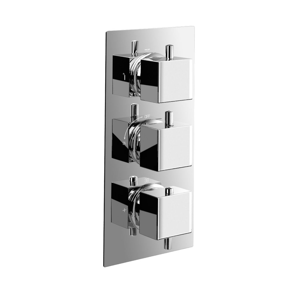 Bathroom High Flow Thermostatic Shower Mixer Valve Concealed 3 Way Faucet Diverter Cartridges Square Round Chrome