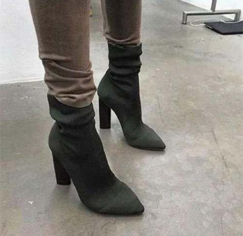 Green Spring Weaves Ankle Boots Pointed Toe Fashion Thick High Heels Women Ankle Boots!