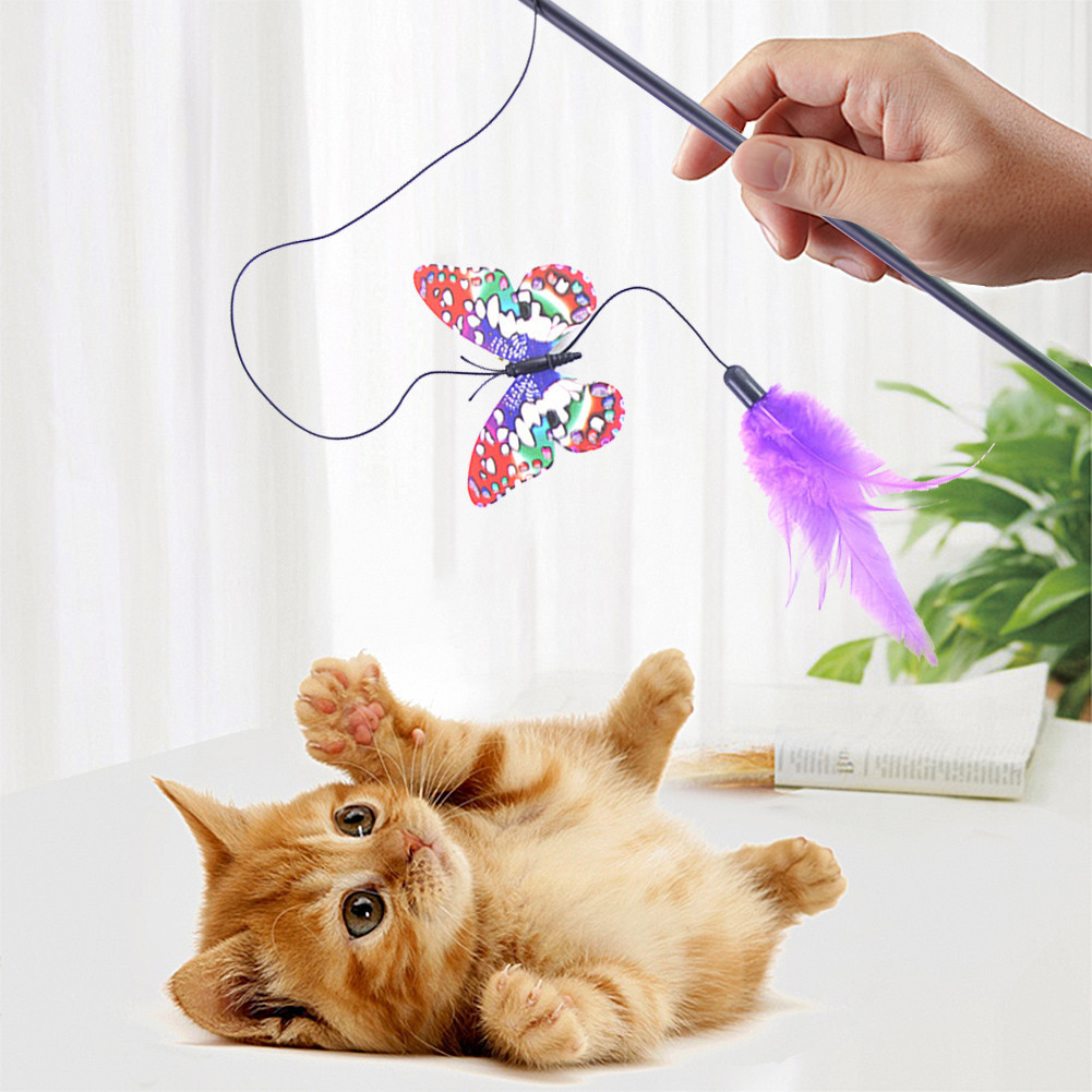 Cat Toys Tease Cat Stick Pet Toys Butterfly Tease Sticks Intellectual Toys for Cats dropship
