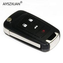 AIYSZXUAN 4Buttons Modified Flip Folding Key Shell for Chevrolet Cruze Remote Key Case Keyless Fob Uncut HU100 Blade With LOGO