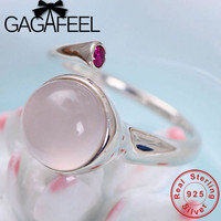 GAGAFEEL Pink Stone Ring S925 Sterling Silver Rings Elegant Jewelries for Women Female High Quality