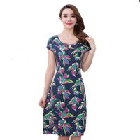 2017 New Women Print Dresses Long Casual O Neck Cotton Summer Dress Short Sleeves Mid Calf