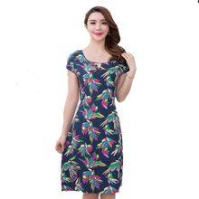 2018 Новый Для женщин платья с принтом Длинные повседневные О-образным вырезом хлопок летнее платье Короткие рукава до середины икры Большие размеры свободные Vestido AC002