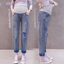 Spring Autumn Hole Straight Maternity Jeans Contrast Color Pregnancy Clothes Casual Vintage Loose Stomach Lift Pregnant Clothes new maternity jeans clothes for pregnant women pregnant stomach lift pants korean version of the hole jeans loose pregnancy jean