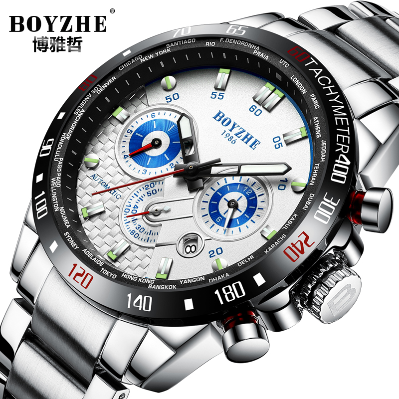 BOYZHE Luminous Classic Automatic Watches Sprots Military Mechanical Watch Men Chronograph Calendar Stainless Steel Wrist Hours все цены