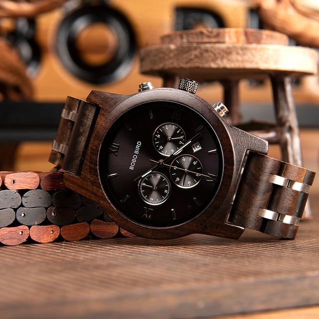 relogio masculino BOBO BIRD Men Watch Bracelet Set Wood Timepiece Chronograph Military Quartz Watch in Wooden Box Men's Gifts