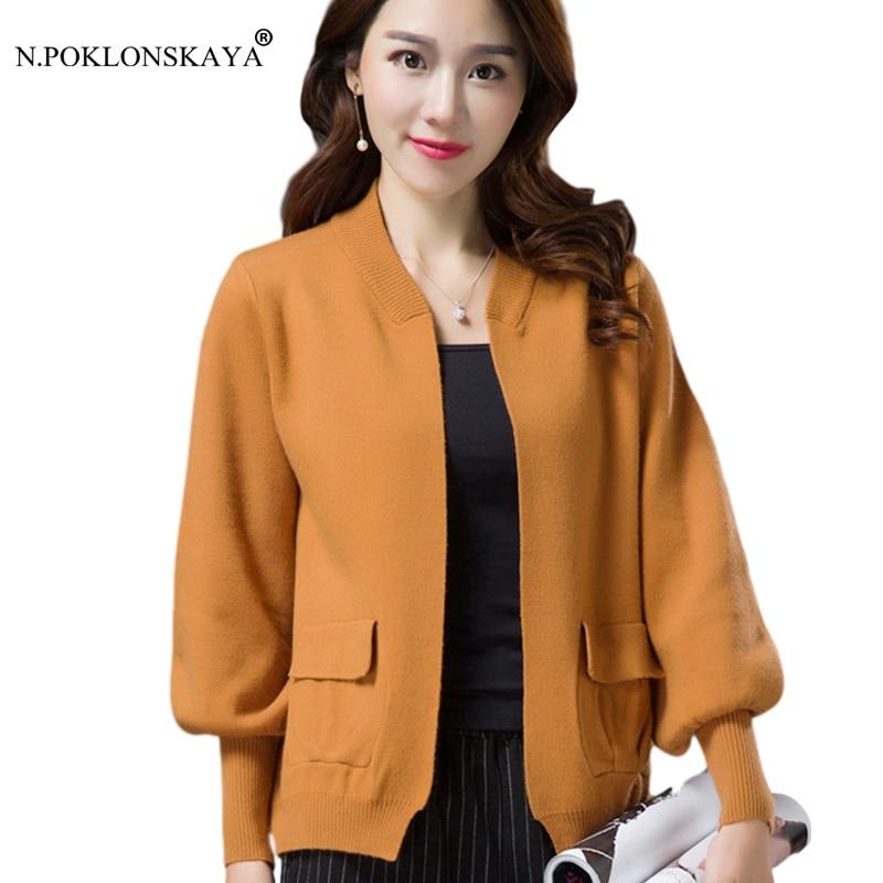 N.POKLONSKAYA High Quality Women Cardigan with Pockets Lantern Sleeve Autumn Knitted Tops 2018 Fashion Casual V Neck Cardigans