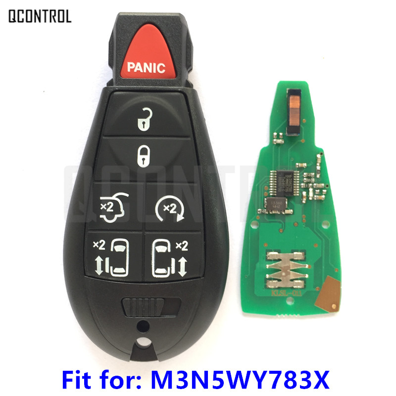 QCONTROL 7BT Clé De Voiture pour Chrysler Intelligent Serrure De Porte 300 Town & Country Fréquence 433 MHz M3N5WY783X/IYZ-C01C Auto Contrôle alarme