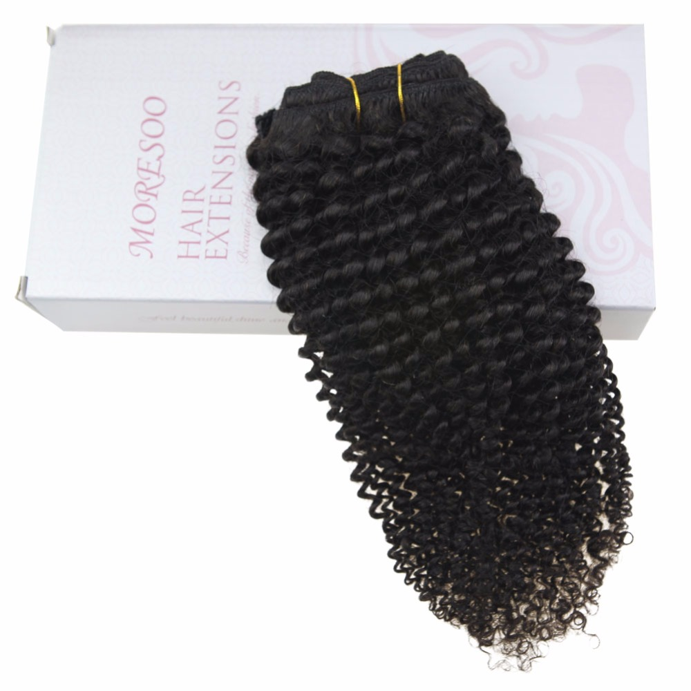 Moresoo Kinky Curly Clip In Human Hair Extensions 100% Brazilian Remy Hair 7Pieces 100Gram Natural Black #1B