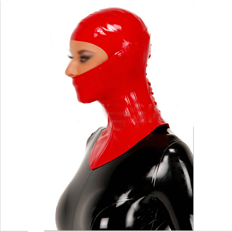 new design sexy lingere club wear unisext exotic red latex hoods and 1.0mm collar cekc zentain fetish customize size XS-XXL