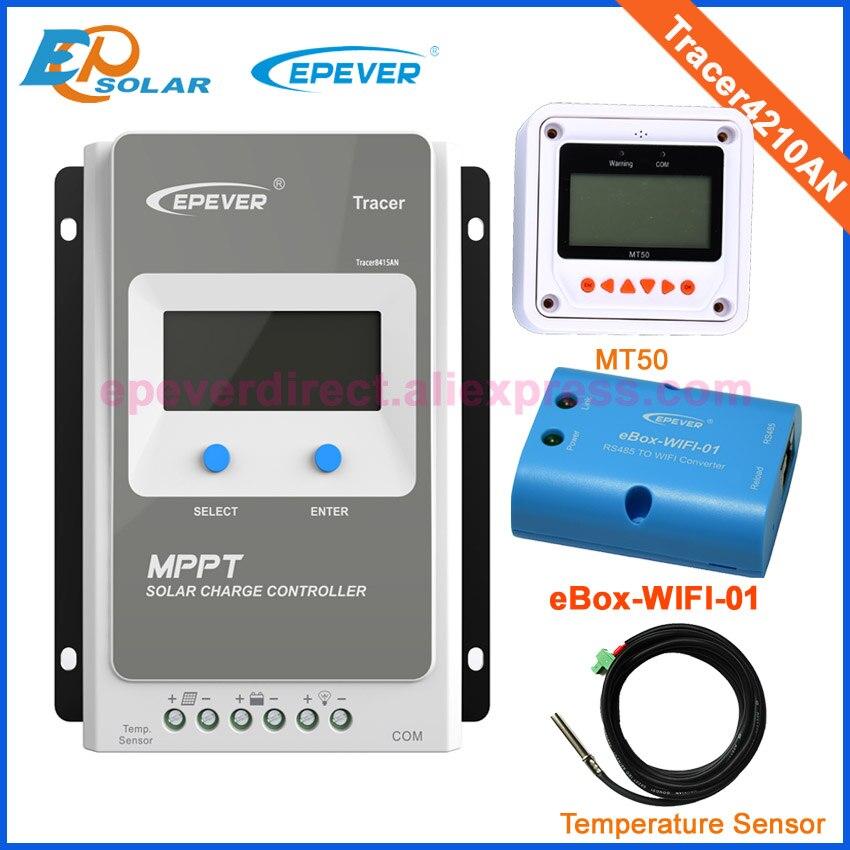 wifi box and temp sensor EPEVER Solar controller tracer4210AN MPPT Solar tracking regulator 24V 12V 40A 40amps MT50 Meter remote