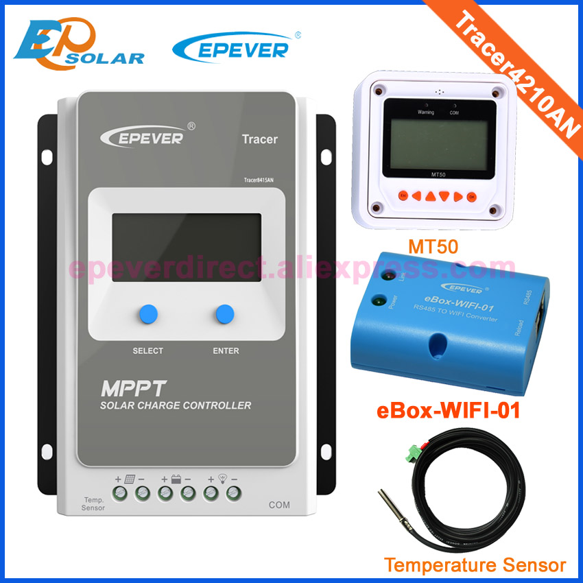 wifi box and temp sensor EPEVER Solar controller tracer4210AN MPPT Solar tracking regulator 24V 12V 40A 40amps MT50 Meter remote цена