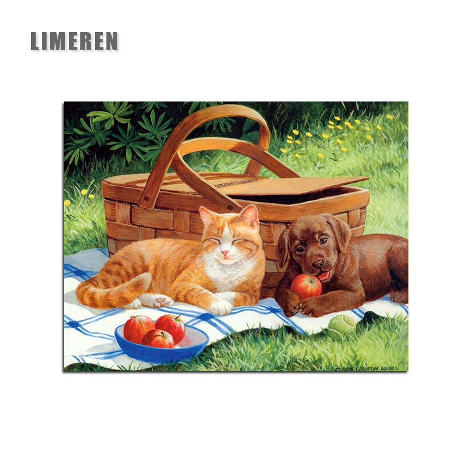 Picnic Decor Lovely Dog And Cat Animal Picnic For Kids Living Room Decor Oil Painting Pictures By Numbers Drawing By Numbers Diy Paint In Painting Calligraphy