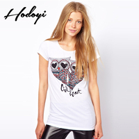 여성 여름 재미 티셔츠 패션 Disfraz 클럽 T 셔츠 십대 셔츠 팜므 여자 락 사랑 눈 올빼미 인쇄 Dames Kleding